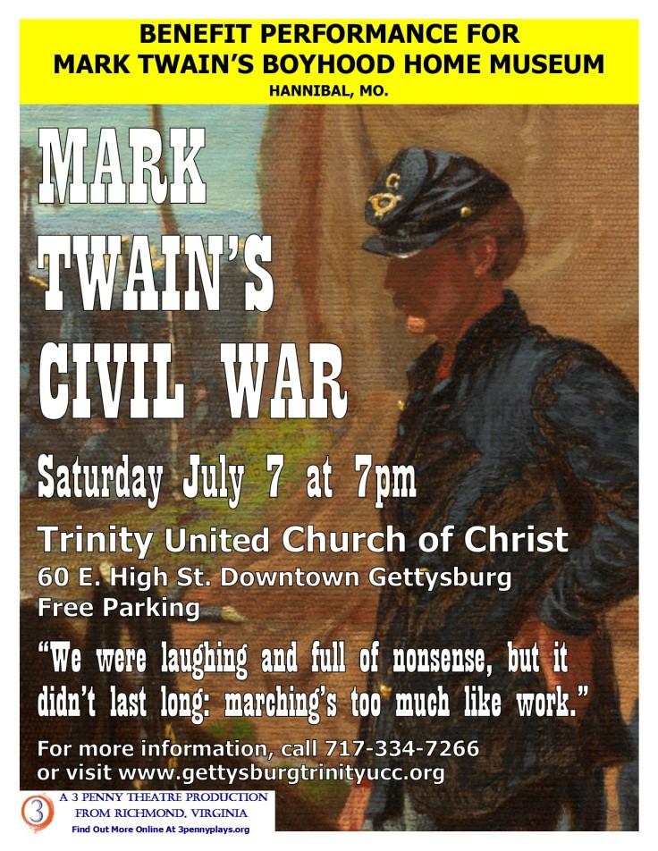 Mark Twain Civil War 8x11 Poster